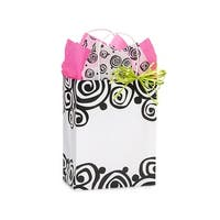 "Pack Of 25, Bohemian Swirls Recycled Bags W/White Paper Twist Handles - Cub 8 X 4.75 X 10.5"" Made In Usa"