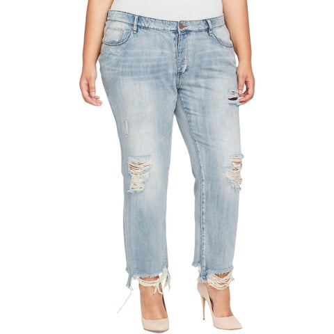 William Rast Womens Plus My Ex's Ankle Jeans Destroyed Mid-Rise