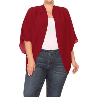 Women's Plus Size Loose Fit Open Solid Sweater Cardigan