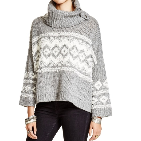 Free People NEW Gray White Women's Size Small S Turtleneck Sweater