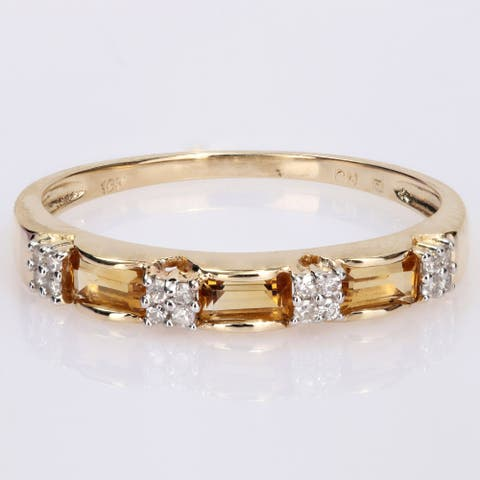 Miadora 10k Yellow Gold Baguette-cut Citrine & Diamond Accent Stackable Eternity Wedding Band Ring