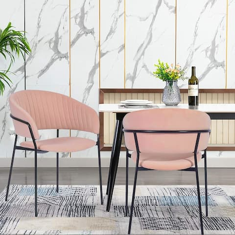 Velvet Dining Chair Black Painting Frame(Set Of 2)