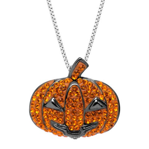 """Crystaluxe Halloween Jack O'Lantern Pendant with Crystal in Black Rhodium-Plated Sterling Silver, 18"""" - Orange"""