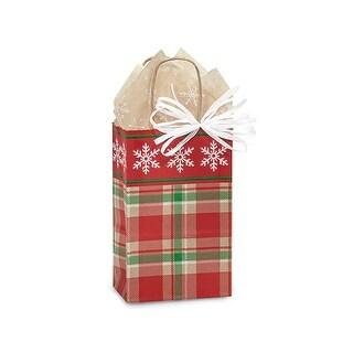 "Pack Of 25, Rose 5.5 X 3.25 X 8.5"" Christmas Plaid Snowflake Bags W/Kraft Paper Twist Handles Made In Usa"