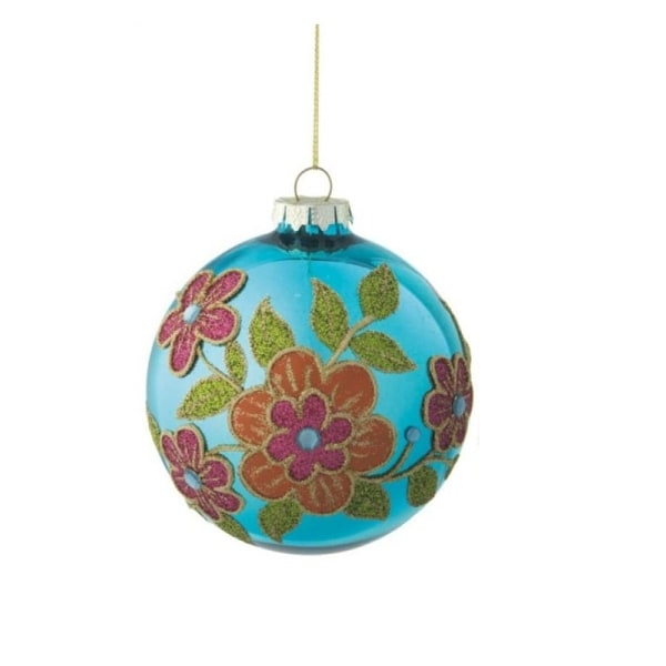 "Shiny Turquoise Blue Glass Ball Christmas Ornament with Colorful Flower Designs 3.5"" (90mm)"