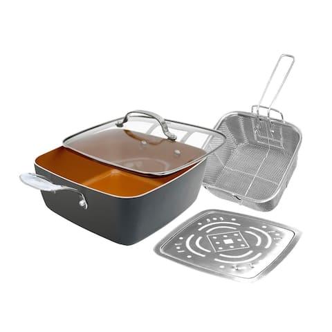 "Gotham Steel Titanium & Ceramic XL Nonstick 11"" Copper Deep Square All in One 6 Qt Chef Pan Set, 4-Piece Set"
