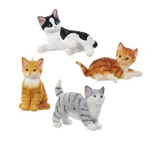 """Club Pack of 12 White and Brown Animal-Inspired Decorative Cat Ornaments 2"""""""
