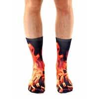 Flame Photo Print Crew Socks - Orange