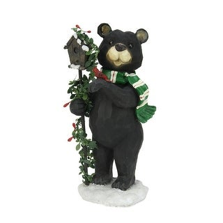 "9.75"" Black Grizzly Bear with Pine Berry Bird House Christmas Table Top Decoration"