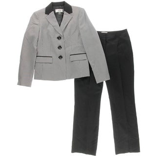Le Suit Womens Petites Pant Suit Houndstooth Contrast Trim