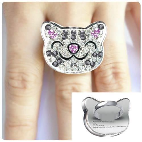 Big Bang Theory Soft Kitty Crystal Ring - Silver