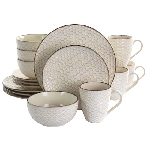 Elama Honey Ivory 16 Piece Stoneware Dinnerware Set in Ivory