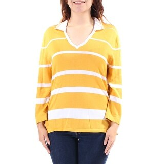 Womens Yellow White 3/4 Sleeve Collared Casual Tunic Sweater Size S