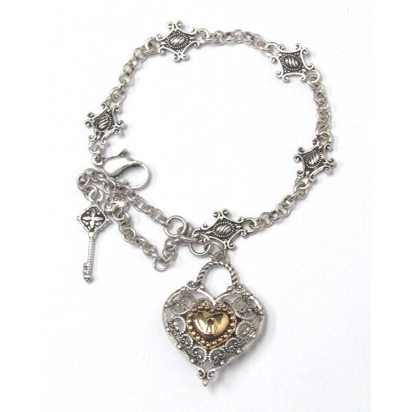 Metal filigree heart charm bracelet