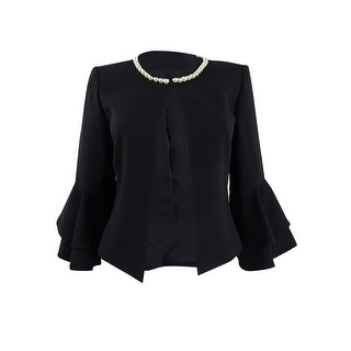 Link to Tahari ASL Women's Petite Pearl-Trim Ruffled-Sleeve Jacket Similar Items in Suits & Suit Separates