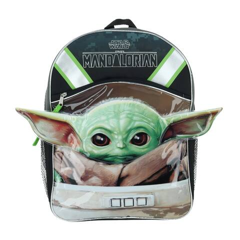 Disney Kids' 16-Inch Mandalorian The Child Backpack with Front Zipper - one size