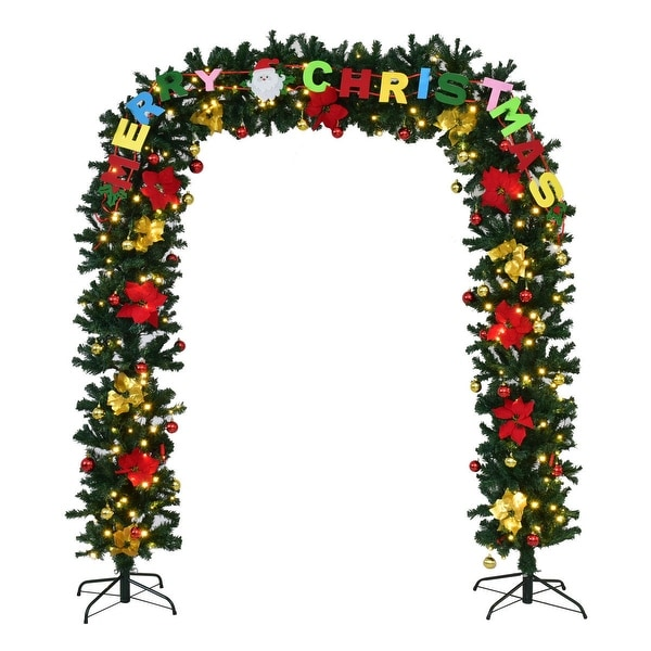 Costway 7.5' x 5'Pre-Lit Artificial Arched Christmas Tree Archway Decoration w/LED Lights