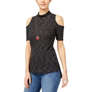 BCX Womens Juniors Casual Top Ribbed Knit Striped - XS