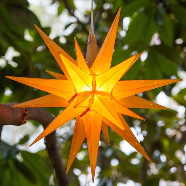 """Wintergreen Lighting 72727 Indoor / Outdoor LED Moravian Star with 60"""" Lead - GOLD - N/A"""
