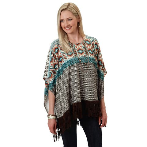 Roper Western Sweater Womens Poncho S/S Brown