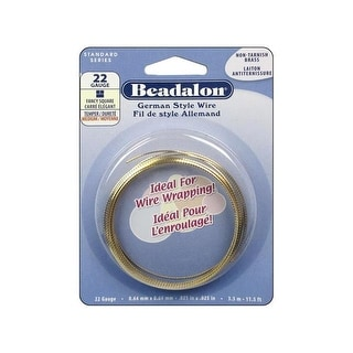 Beadalon German Style Wire Sq Fancy 22ga Gold 3.5M