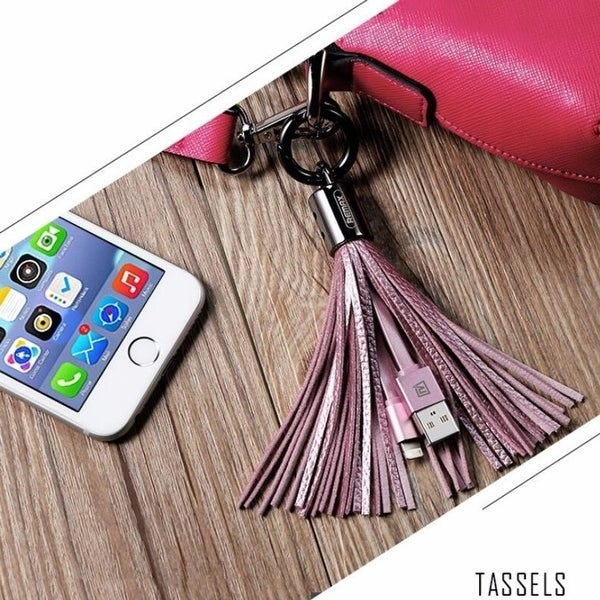 Leather Tassel 8 Pin Lightning to USB Cable Sync Data Charger Apple iPhone iPad