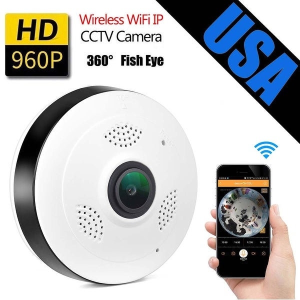 AGPtek Mini Wireless Wifi IP Camera 360 Degree Panoramic Fisheye Camera Two Way Audio 960P HD