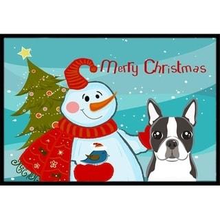 Carolines Treasures BB1823JMAT Snowman With Boston Terrier Indoor & Outdoor Mat 24 x 36 in.