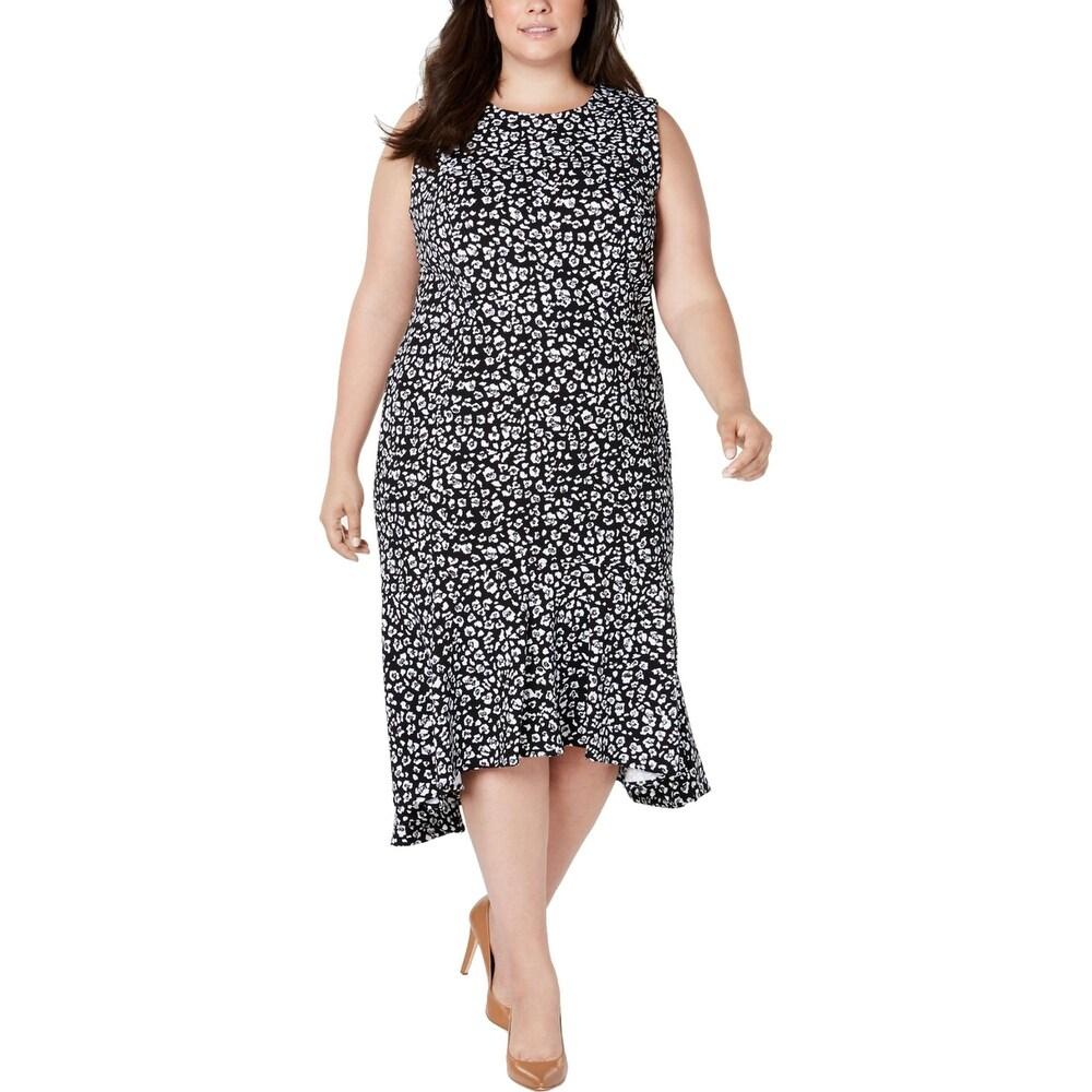 Calvin Klein Womens Plus Midi Dress Printed Hi-Low - Black-Cream