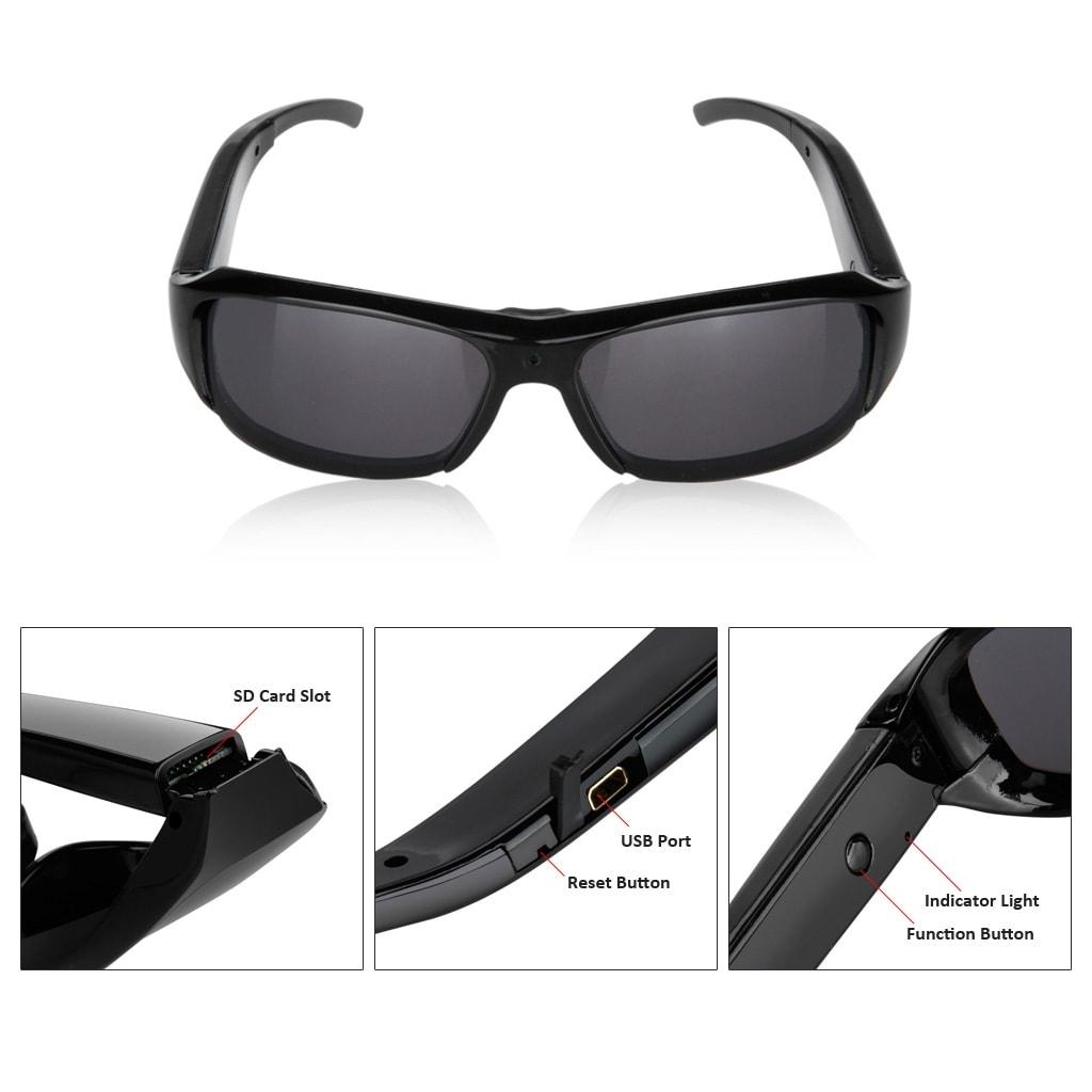 1080P HD Hidden Mini Camera Glasses   Eyewear DVR Video Recorder TF Sunglasses