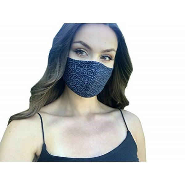 Reusable Women's Fashion Cloth Face Mask with Adjustable Straps, Sashiko Print - Navy. Opens flyout.