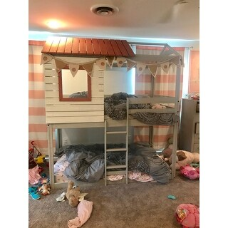 Shop Donco Kids Loft Style Light Grey Twin Over Twin Bunk