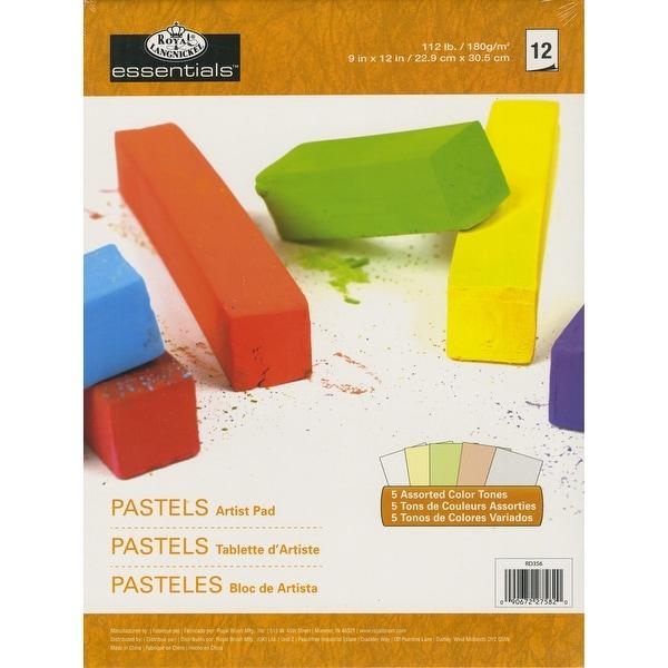 """Essentials Pastels Artist Paper Pad 9""""X12""""-12 Sheets (5 Colors)"""