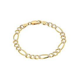 Mcs Jewelry Inc 14 KARAT TWO TONE, YELLOW GOLD WHITE GOLD FIGARO CHAIN BRACELET (6 INCHES)
