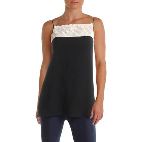 Kensie Womens Camisole Top Colorblock Lace Trim