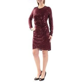 RACHEL ROY $119 Womens New 1247 Maroon Sequined Ruched Long Sleeve Dress M B+B