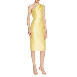 ML Monique Lhuillier Womens Cocktail Dress Pleated One Shoulder