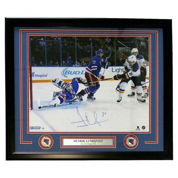 2e43de3762a Henrik Lundqvist Signed Framed New York Rangers 16x20 Stick Save Photo  Steiner