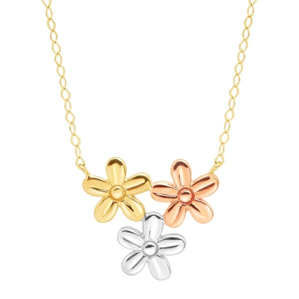 Eternity Gold Flower Patch Necklace in 10K Three-Tone Gold