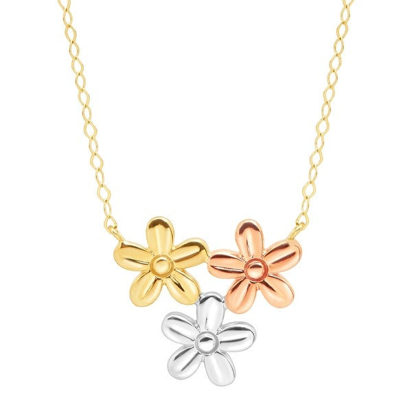 Just Gold Flower Patch Necklace in 10K Three-Tone Gold