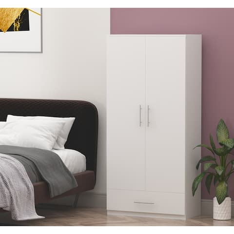 2-door Wardrobe Armoire With 1-drawer