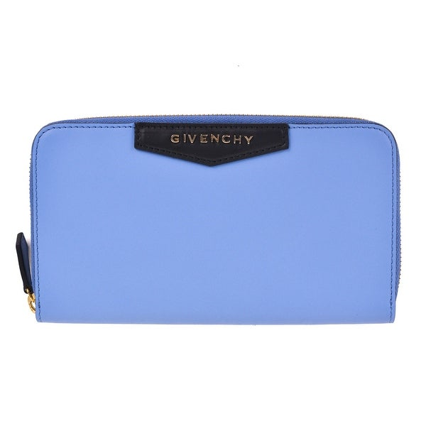 Givenchy Smooth Blue Leather Continental Zip Around Wallet