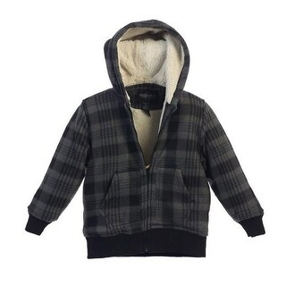 Boys Grey Checkered Sherpa Lining Hooded Flannel Jacket 8-16