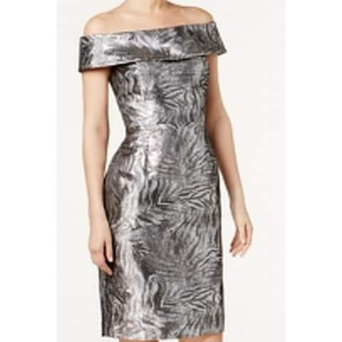 Calvin Klein Silver Womens Size 4P Petite Metallic Sheath Dress