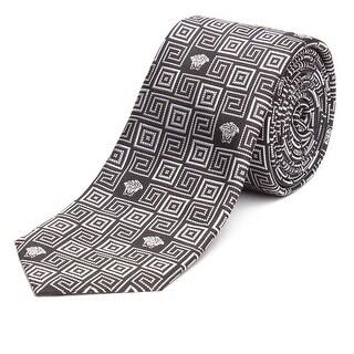 Versace Men's Slim Silk Tie Repeating Medusa Pattern Black - no size