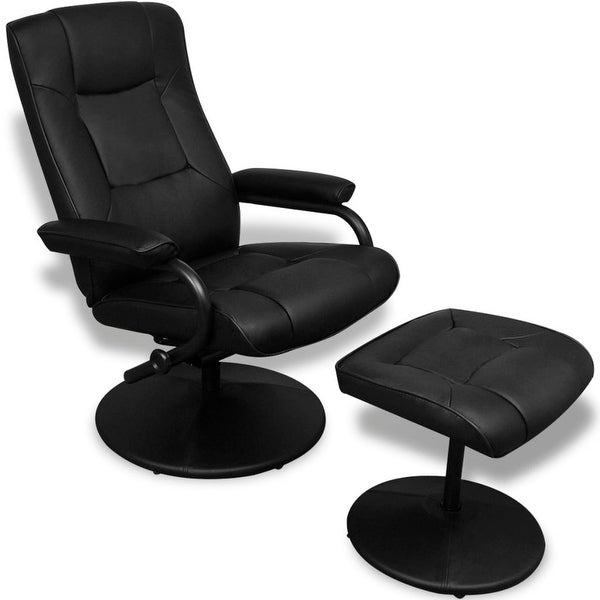 Shop Vidaxl Black Artificial Leather Tv Armchair With Foot