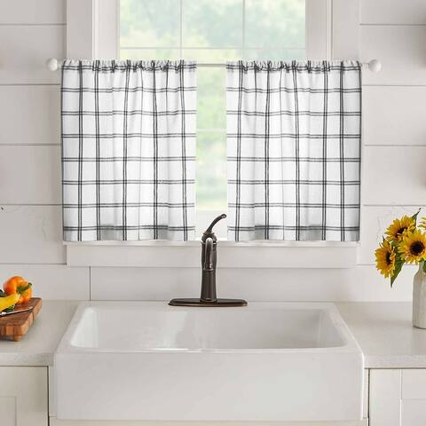 Farmhouse Living Double Windowpane Plaid Kitchen Tier Set