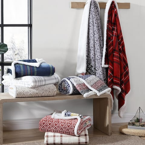 """Plaid Sherpa Flannel Reversible Throw Blankets (50"""" x 70"""")"""