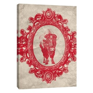 """PTM Images 9-108963  PTM Canvas Collection 10"""" x 8"""" - """"Framed Bison in Crimson"""" Giclee Buffalo Art Print on Canvas"""