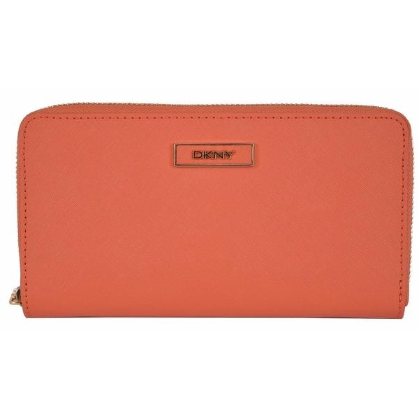 """DKNY Donna Karan Orange Saffiano Leather Zip Around Wallet Clutch - 7.5"""" x 4"""""""